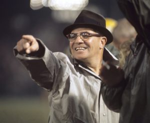 Vince Lombardi, head coach of the Green Bay Packers, points from the sidelines during a game versus the Baltimore Colts at Memorial Stadium. Baltimore, Maryland 12/10/1966 (Image # 5030 )